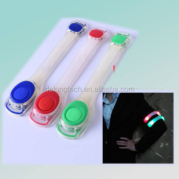 glow in dark led light warning amband for activity with light