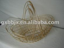 Gold egg shaped wire groceries cabas basket with handle