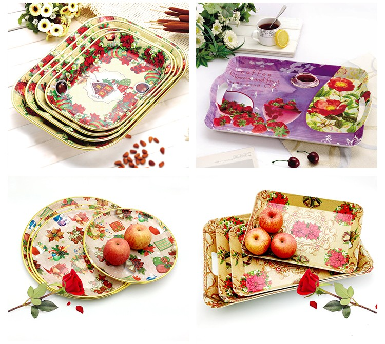 Wholesale Cheap With Handle Plastic Serving Food Tray