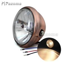 Pazoma High Qaulity Brown Steel H4 12V 60/55W Motorcycle Headlights for Harley and Choppers Cafe Racers