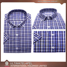 CTD tailor made button down fitted short sleeve checks summer shirts for men