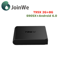 Joinwe Cheapest T95X Price2+8GB Kodi 16.1 Google Play Store S905X Android 6.0 TV Box