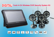 long distance wireless video digital outdoorsecurity camera system with 2.4GHz 7 inch tft lcdscreen