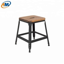 Colorful small child kid wooden seat stackable metal stool