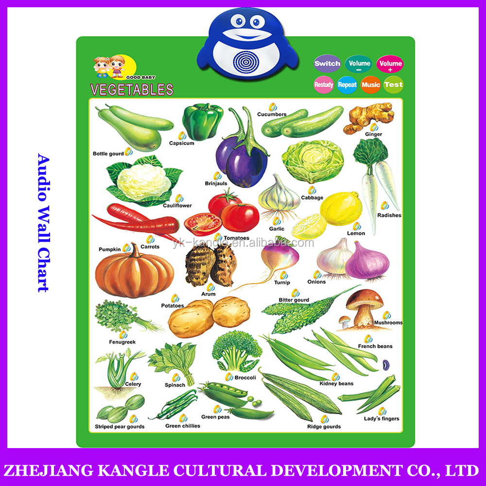 Voiced wall chart thai language vegetable for preschool kids