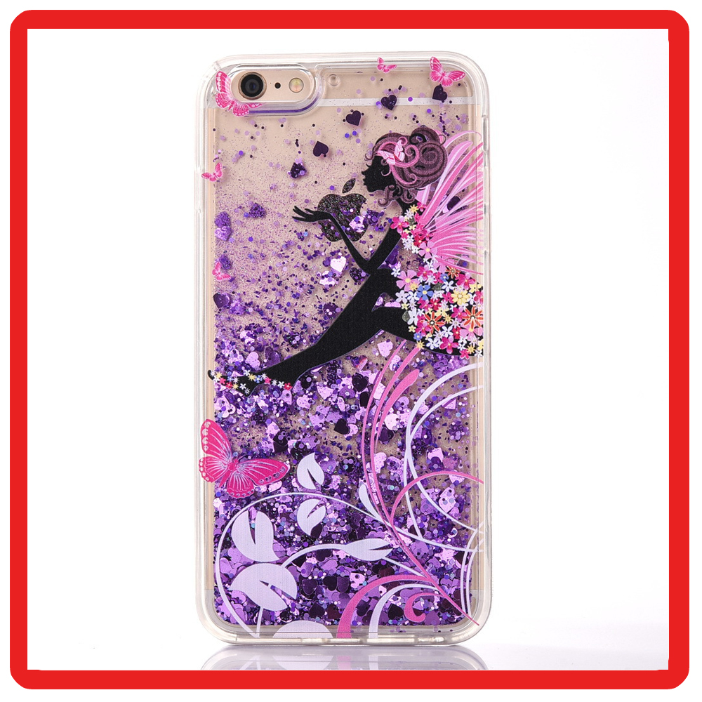 Transparent Plastic Bling Glitter Star Liquid 3D angel girl quicksand Mobile phone cell gel Case for iPhone 6 6s 7 7plus