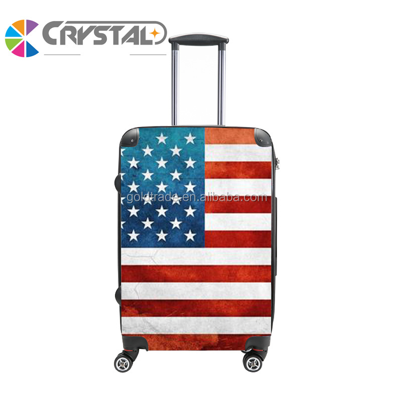 Customized Design USA Flag Print Travel Trolley ABS PC Personalized Luggage Set/Colorful Zipper Luggage, Lady Trolley Luggage