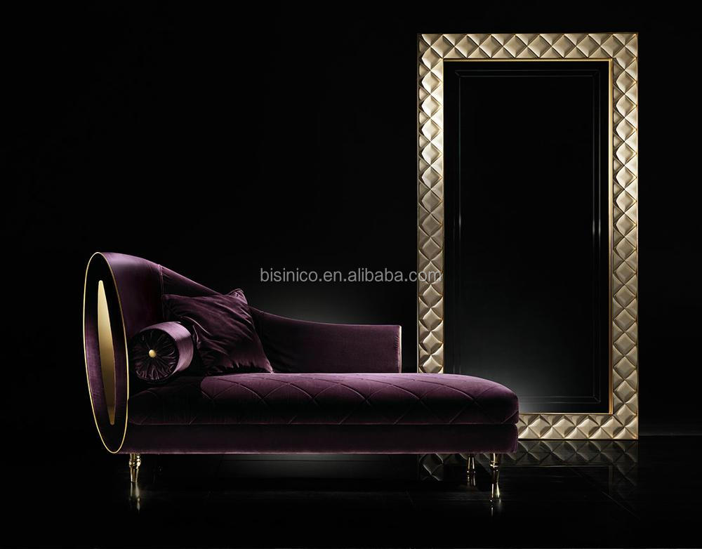 Romantic Italian Stainless Steel Golden Chaise Lounge With Purple Fabric