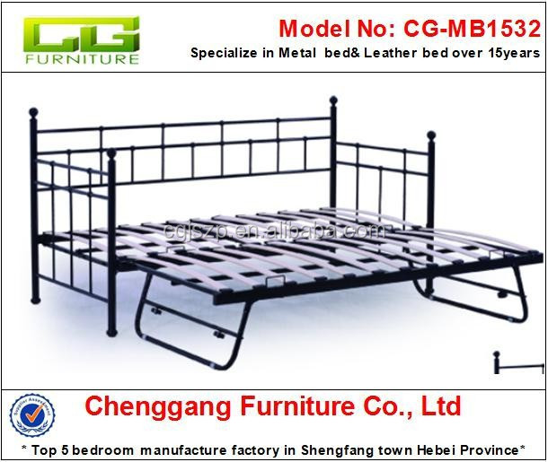 CG furniture Modern New Design Wood slats base metal frame Trundle Day Bed