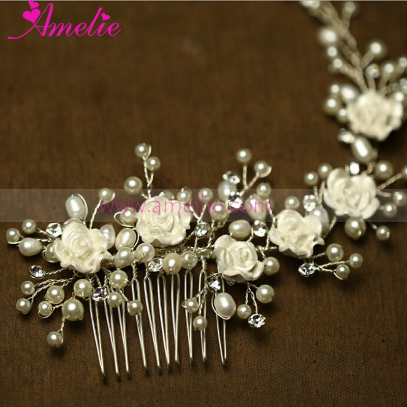 2016 Bridal Collection Wedding Hair Accessories Resin Flower Party Hair Side Decorative Comb