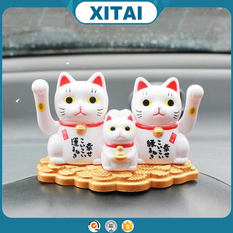 Three fortune lucky cats solar movement car decoration accessories