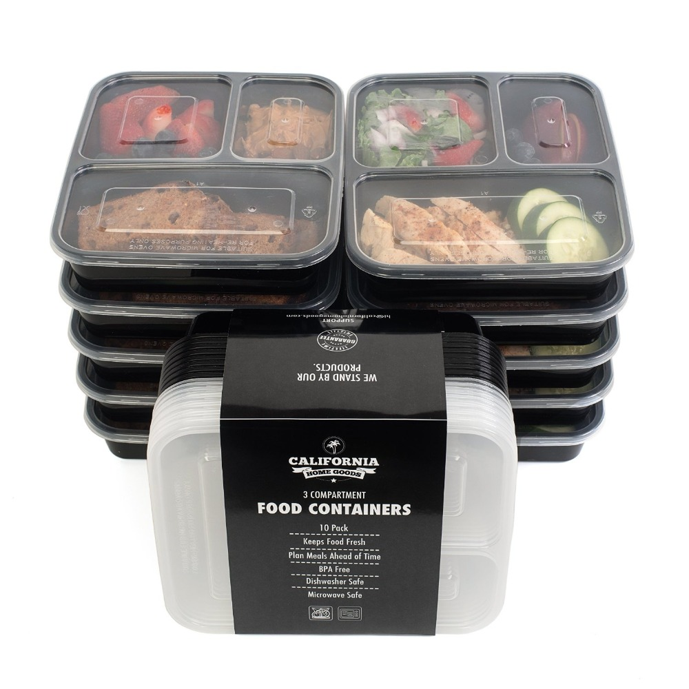 3-compartment Bento Lunch Box Plastic Containers, Reusable, Dishwashable, Microwavable Food Containers with Lids, OEM Packaging