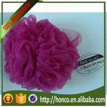 Alibaba hot selling mesh pouf bath sponge with quick shipping honco
