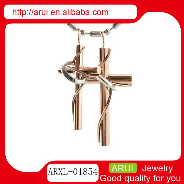 best seller quantum science pendant low price double rose gold cross pendant