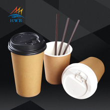 paper soup cups with paper/plastic lids hot soup kraft paper cup