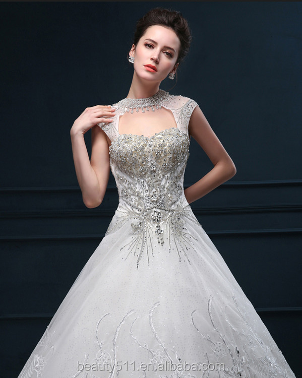 2017 bridal gowns New Design Beaded A-line Sweetheart Sleeveless Lace emboried Long Train bridal Lace wedding dresses WD1604