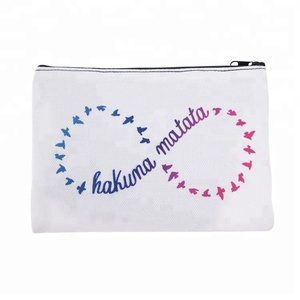 Zohra Fashion White Canvas Zipper Cosmetic Bag, Wholesale Makeup bag