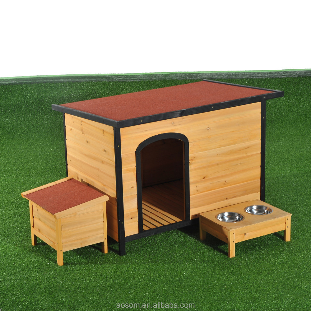 PawHut Large Wood Outdoor Wood Elevated Pet House Dog Kennel Shelter w/ Opening Roof
