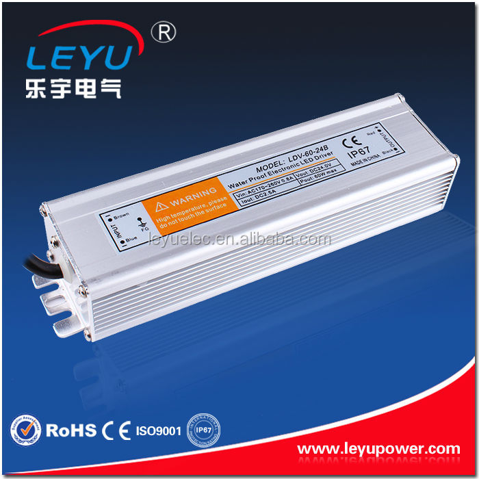 60w 12v/24vdc constant voltage waterproof led strip light driver