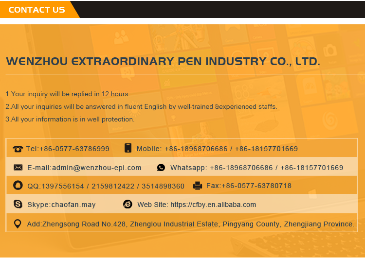 Wholesale China Factory Colorful Custom Logo Promotional Ball Point Pen