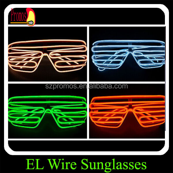 The Cheapest Price Wholesale El Wire Flashing Light Up Shutter Glasses Shades Eyewear Party Concert Favor Jade White Men's Glasses
