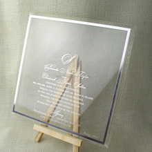 2016 Newest Engraved silver mirrored acrylic unique invitations