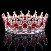 The baroque colors luxury princess gold rhinestone bridal candy pageant round crown for women