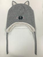 Knit pattern ear flaps kids polar fleece knitted hat