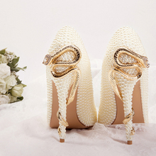 D441 Women formal wear wedding shoes with pearl luxury bridal shoes
