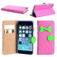 Hot design folio flip crystal leather phone sleeve for iphone 6