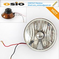 7 inch Round Crystal Iron Semi Sealed Beam Halogen Headlight Install H4 or HID H4 Xenon Bulb