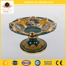 "2016 European Style Hand Made antique luxury marble green classic 13"" art ceramic plate with gold"