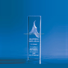 Custom made raw crystal glass rectangle block plaque with 3D laser engraving logo