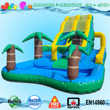 Giant palm tree lane trippo hippo inflatable water slide for sale