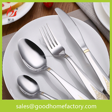 Gold Plated Cutlery Mirror Polish Stainless Steel Set, Metal gold flatware set,royal knife fork spoon tableware set