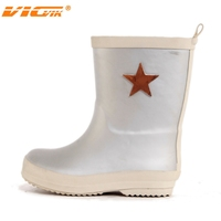 2015 kids grey rubber rain boots with five-point star pattern