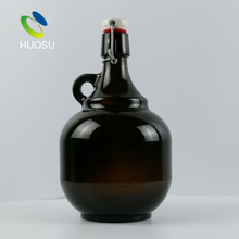 empty clear amber beer growler glass bottle 64oz 2000ml 1/2 Gallon half gallon ceramic top swing cap