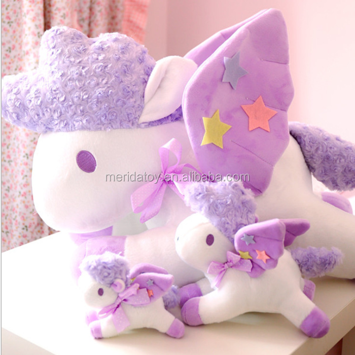 2018 new product purple unicorn plush toys pendant cute stuffed animal cell phone holder