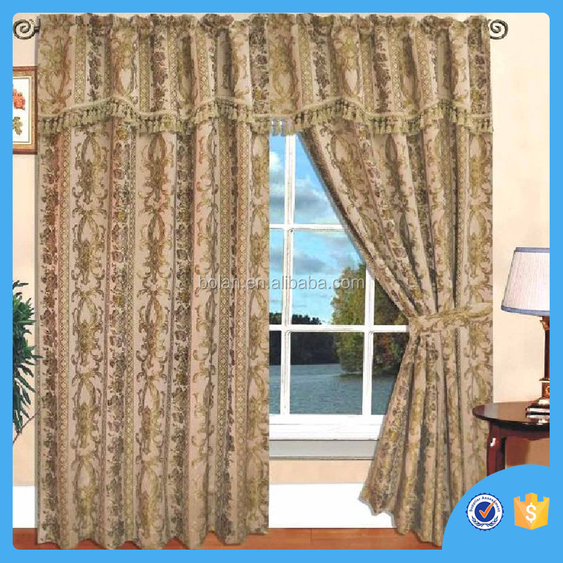 Luxury Embroidered curtain , drapes with backing valance, made in china