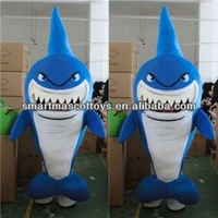 Fit adults 4.5'-6.4' blue shark costume with cooling fan inside head adult shark mascot costume
