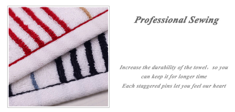 100 % cotton red with white strip yarn dyed face towel with sedex from gaoyang