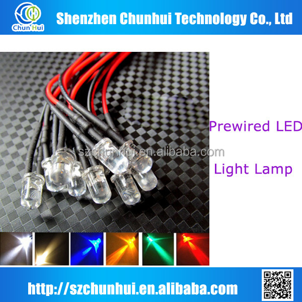 hot sales Green led 12V diode 5mm prewired