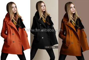 2014 fall and winter clothes new European style double-breasted wool coat women fashion coat lapel loose woolen coat