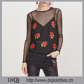 Clothes factory wholesale latest new designs styles ladies Black Sheer Mesh Top With Embroidered Rose Applique Cami Top