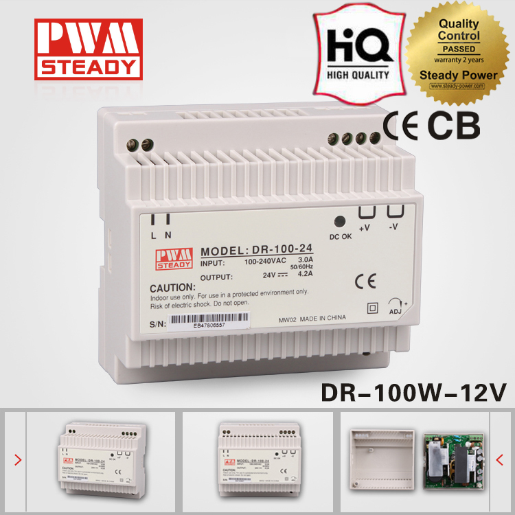 DR-100-12 transformer 100w 220v ac to 12v dc 7.5a power supply units din rail enclosure with CE 100w switching power supply