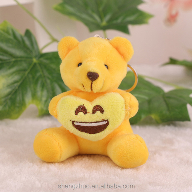 Custom Plush gummy bear keychain with Emoji plush keychain bear