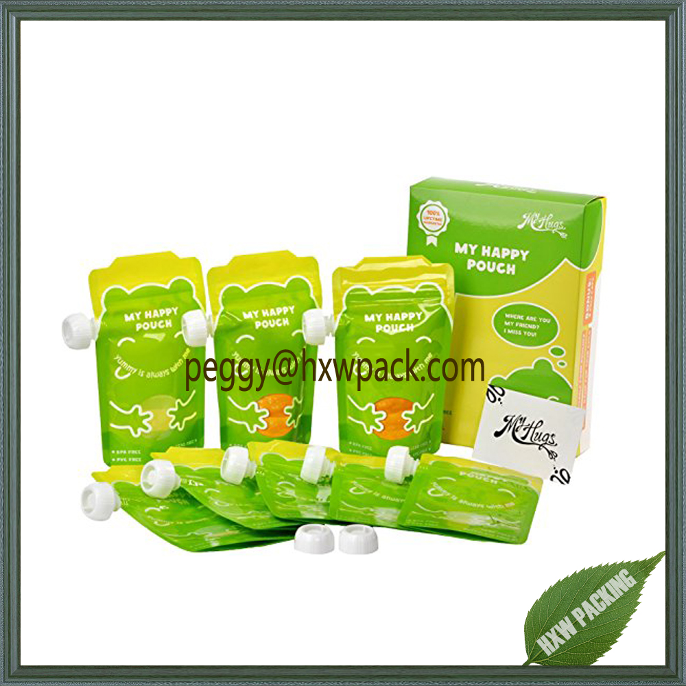 BPA free reusable refillable baby food pouches moisture proof baby food pouches snack bags