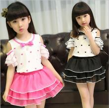 zm50952a 2016 New model skirt and blouse sets for girls