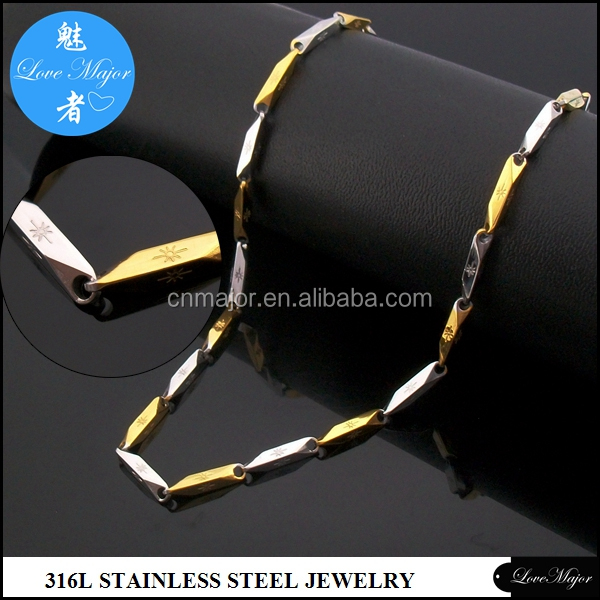 3mm surgical stainless steel Gold Bullet Arrow Stick link chain jewelry for Brazil Men