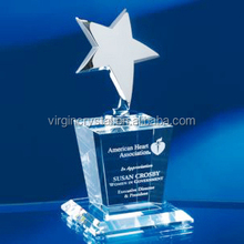 Shinning excellent crystal star trophy